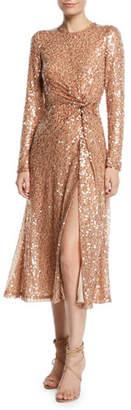 Galvan Pinwheel Sequined Twist-Front Dress