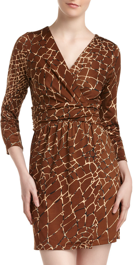 Julie Brown JB by Allison Crocodile-Print Faux-Wrap Dress
