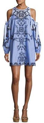 Parker Newton Lace-Trim Cotton Dress, Blue Pattern $398 thestylecure.com