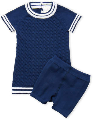 Cuddl Duds Newborn) Two-Piece Cable Knit Dress & Shorts Set