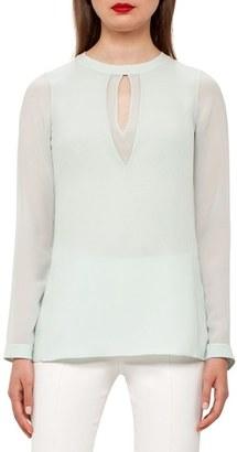 Women's Akris Cutout Silk Georgette Blouse $1,190 thestylecure.com