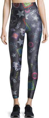 Terez Neon Crystals Tall-Band Leggings