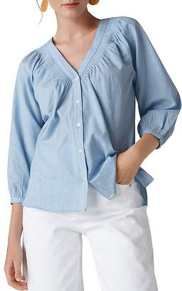 Whistles Striped Pintuck Shirt