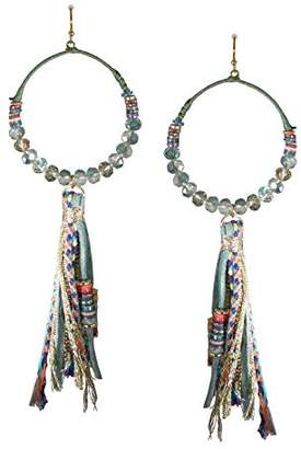 57 T The Lizou Collection Lizou Collection Very Long Green Beaded Wrapped Hoop with Tassel Earrings 57T