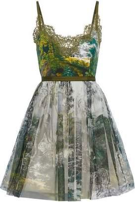 Alberta Ferretti Lace-trimmed Printed Faille And Tulle Mini Dress