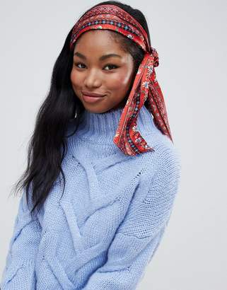 Asos DESIGN floral and tile print headscarf