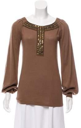 Alberta Ferretti Embellished Silk & Cashmere-Blend Sweater