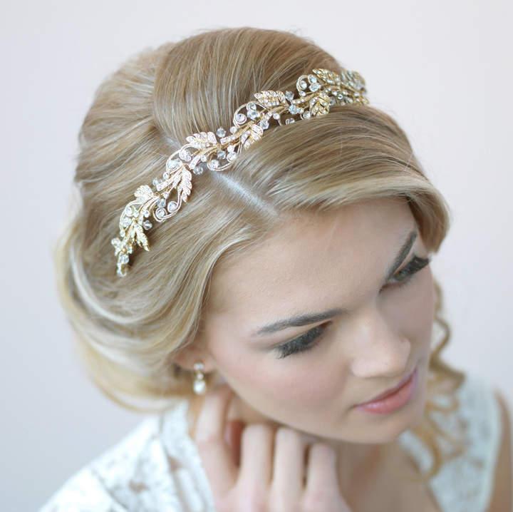Etsy Gold Bridal Headband, Floral Wedding Headband, Gold Wedding Headpiece, Gold Leaf Headband, Bride Hea