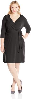 NY Collection Women's Plus-Size 3/4 Sleeve Cross Front Dress
