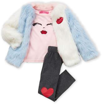 Betsey Johnson Toddler Girls) 3-Piece Shaggy Faux Fur Coat & Heart Leggings Set