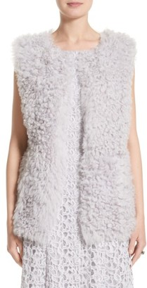 Women's St John Collection Reversible Genuine Curly Lamb Fur Vest $2,495 thestylecure.com