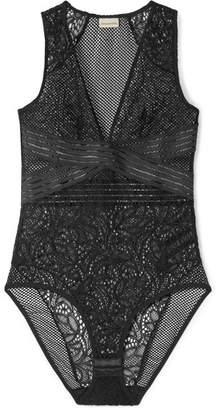 By Malene Birger Teemio Mesh-paneled Stretch-lace Bodysuit - Black