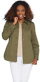 Denim & Co. Button Front Long-Sleeve UtilityShirt Jacket