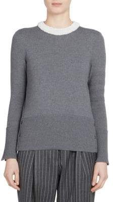 Thom Browne Jersey& Mesh Embellished Pullover