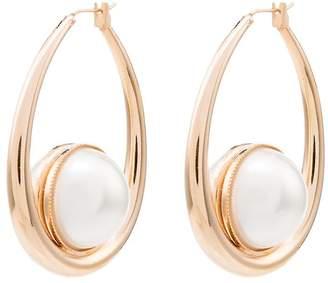 Anton Heunis pearl oval hoop earrings