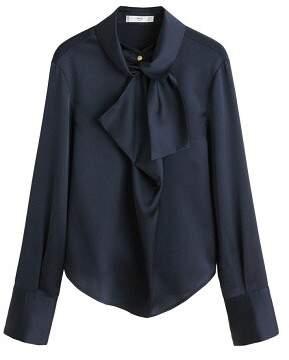 MANGO Neck ribbon satin blouse
