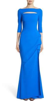 Chiara Boni Slit Bodice Drape Front Gown