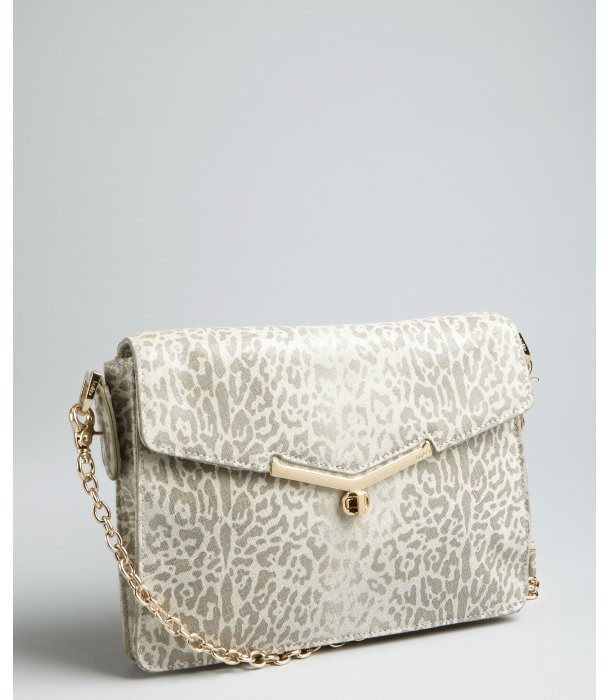Botkier grey cheetah print leather 'Valentina' shoulder bag