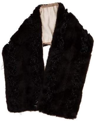 Prada Embellished Fur Stole