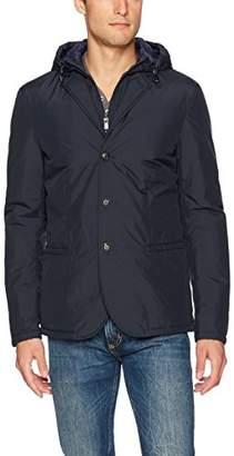 Armani Jeans Men's Polyester Three Button Front Zip High Neck Blazer