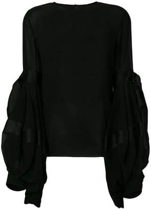 Saint Laurent semi-sheer oversized sleeves blouse