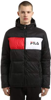 Logo Printed Hooded Nylon Puffer Jacket