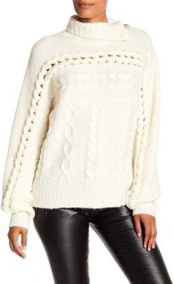 Opening Ceremony Oversized Cable Turtleneck Wool Blend Sweater