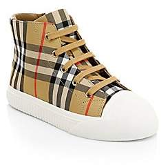 Burberry Kid's Belford High-Top Cotton & Leather Sneakers