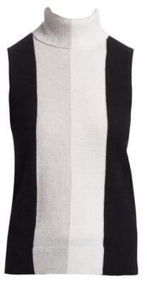 Saks Fifth Avenue COLLECTION Cashmere Colorblock Sleeveless Turtleneck