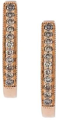 Wouters & Hendrix Gold 18kt gold champagne diamond hoop earrings