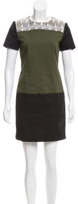Proenza Schouler Snakeskin-Paneled Shift Dress