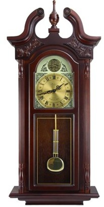 """Bedford Clocks Bedford Clock Collection 38""""Grand Antique Colonial Chiming Wall Clock with Roman Numerals in a Cherry Oak Finish"""