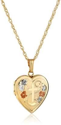 14k Yellow Gold-Filled Engraved Cross Heart Locket