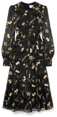 Erdem Carwen Embroidered Silk-organza Midi Dress - Black