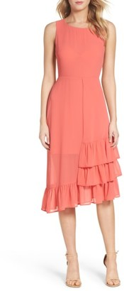 Women's Charles Henry Ruffle Midi Dress $108 thestylecure.com