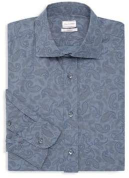 Luciano Barbera Paisley Cotton Dress Shirt