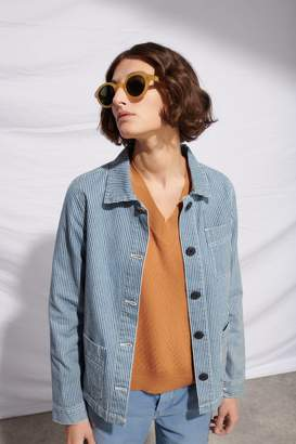 Le Mont St Michel Blue and Off White Cotton Striped Denim Work Jacket - 40 - Blue/Natural
