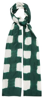 eskandar Square Shibori Dyed Silk Scarf - Womens - Green