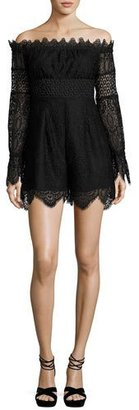 Kendall + Kylie Off-the-Shoulder Lace Romper, Black $258 thestylecure.com