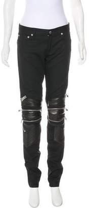 Saint Laurent Leather-Trimmed Mid-Rise Jeans