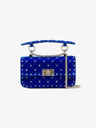 Valentino blue rockstud spike small velvet chain bag