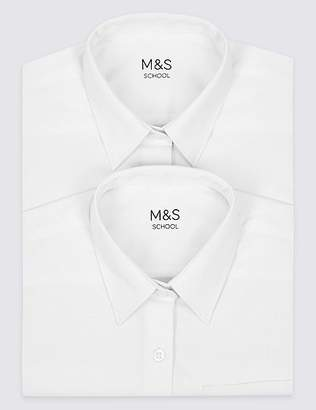 Marks and Spencer 2 Pack Girls' Pure Cotton Non Iron Blouses