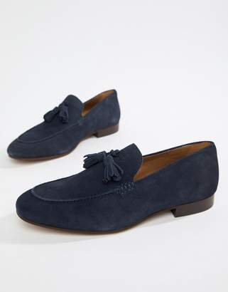 H By Hudson Bolton tassel loafers in navy suede