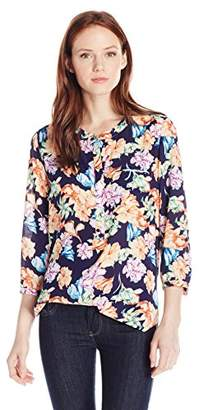 NYDJ Women's Petite Size 3/4 Sleeve Henley Pleat Back Blouse