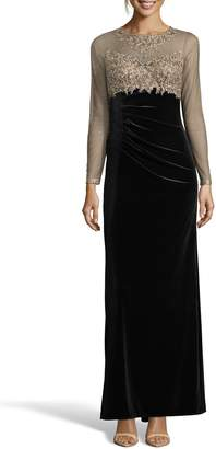 Xscape Evenings Illusion Bodice Velvet Gown
