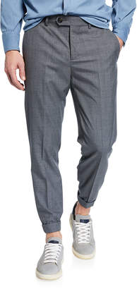 Brunello Cucinelli Men's Lightweight Wool Flat-Front Pants