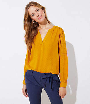 LOFT Cutout Clip Dot Blouse