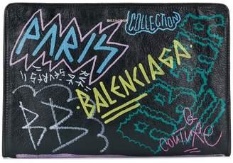 Balenciaga Bazar graffiti clutch