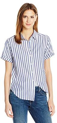Velvet by Graham & Spencer Women's Woven Stripe Shortsleeve Button Down Shirt
