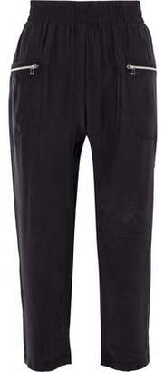 L'Agence Leigh Cropped Silk Straight-Leg Pants
